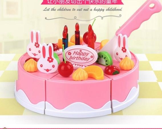Bolo De Aniversário Brinquedo De Cortar 36 Peças Promoção