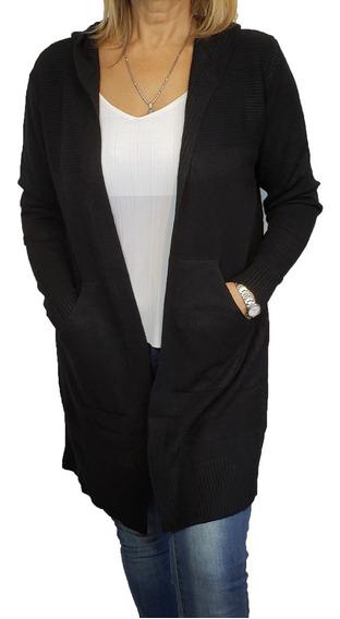 Saco Largo Negro Dama Sacón Vestir Mujer Tejido Punto - S677