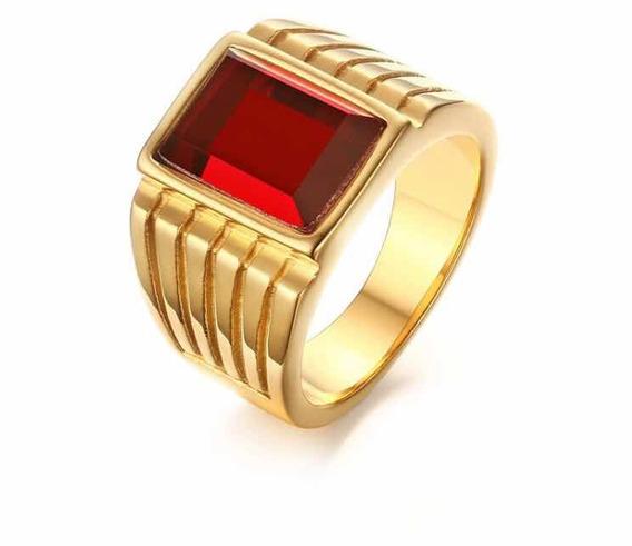 Anel Masculino Comendador Banhado A Ouro 18k Pedra Vermelha