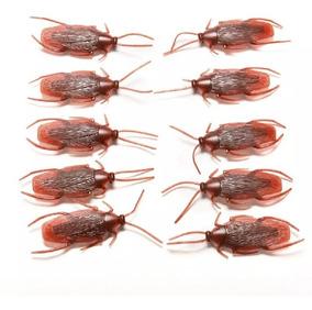 10 Baratas Realistas Marrom Plástico Silicone Borracha Mole