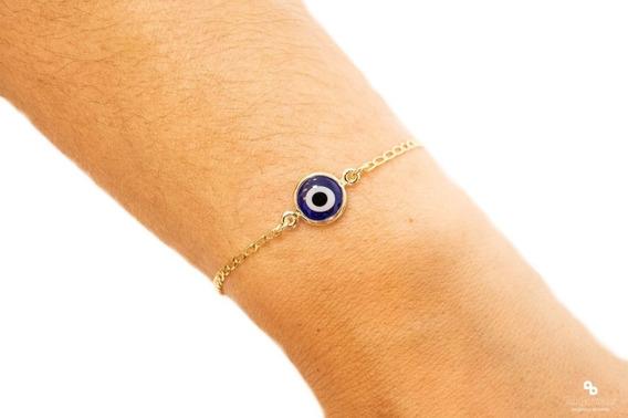 Pulseira Feminina Olho Grego Turco Azul Escuro Banhado