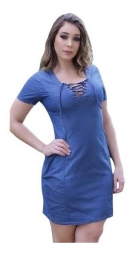 Vestido Feminino Jeans Curto Sem Alças - Babado- Ciganinha