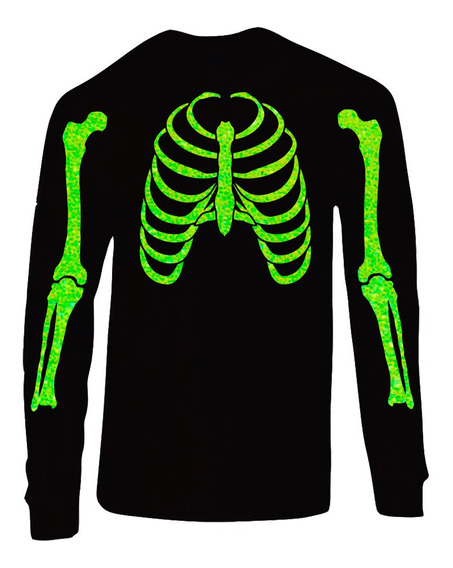 Playera Esqueleto Glitter Día De Muertos (halloween)