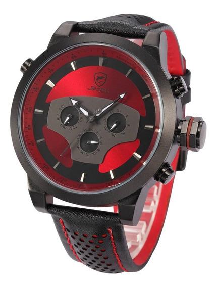 Reloj Shark Deportivo, Correa De Cuero - Original