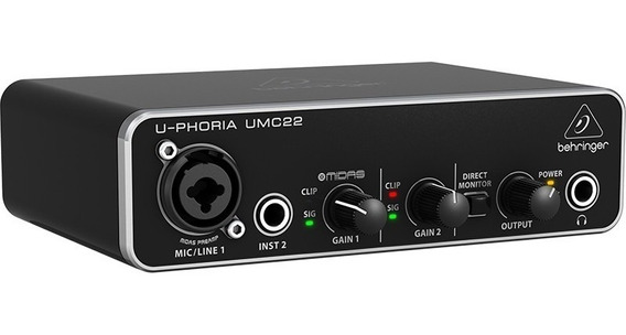 Interface De Áudio Behringer Umc22 Usb U-phoria C/ Pré Midas
