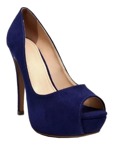 Sapato Peep Toe Azul Camurça Meia Pata Salto Alto Fino