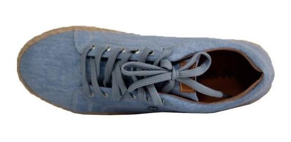 Tênis Com Salto Em Plataforma Corda Lona Jeans 828