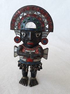 Estatuilla Tumi Peruano Plata 950 Incrustaciones Piedras