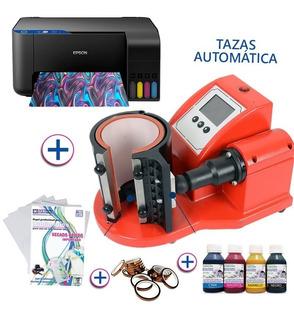 Maquina Sublimar Tazas + Impresora A4 + Papel + Cinta +tinta + 24 Tazas De Polimero + 24 Tazas De Ceramica