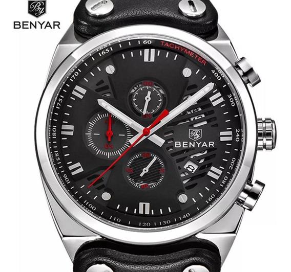 Relógio Masculino Esportivo Analógico Com Cronógrafos Prova De Aguá Benyar 5110m