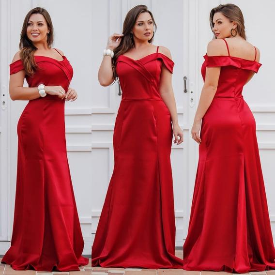 Vestido Grande Longo Madrinha Rose Claro Vermelho Casamento Decotado Tamanhos Grandes Ombro Brilhante Casamento Civil