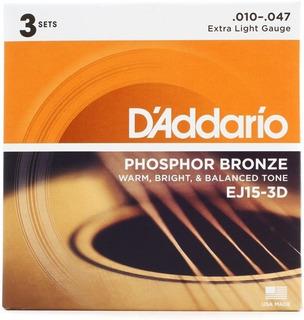 Combo 3 Cordas Violão Aço 010 Daddario Ej15 Phosphor Bronze