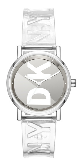 Reloj Unisex Dkny Ny2807 Color Transparente De Poliuretano