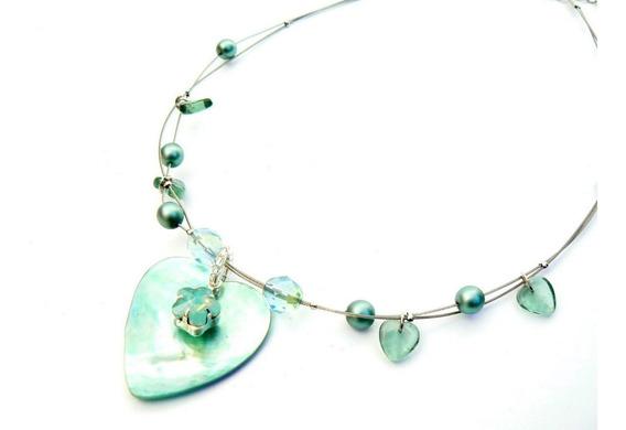 Corazón De Nácar Y Cristales Swarovski. Gargantilla Original