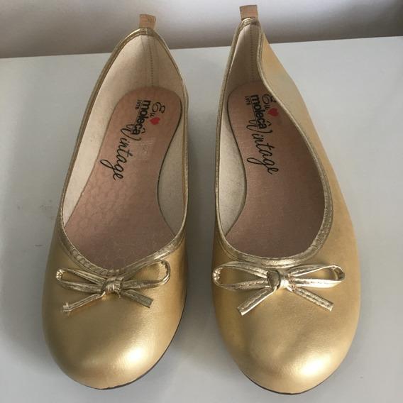 Sapatilha Moleca Vintage Dourada