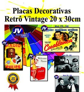 Kit 6 Placas Decorativas Vintage Retro Bar - Diversos Temas