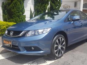 Honda Civic 2.0 Lxr Flex Aut. 4p 2015 Azul Completo