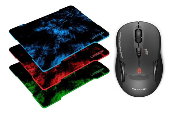 Kit Mouse Bluetooth Multilaser Mo254 + Mouse Pad Warrior