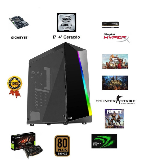 Pc Cpu Gamer I7 Sixcore 8gb Ram Gtx1050ti 4gb Ssd 240gb