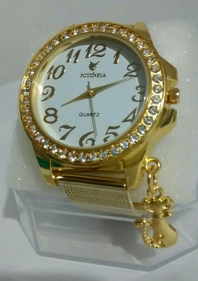 Relógio Feminino Dourado Luxo Delicado Para Mulheres Lindas