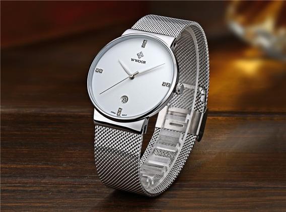 Relógio Masculino Wwoor Azul Fino Quartz Japonês Luxuosso