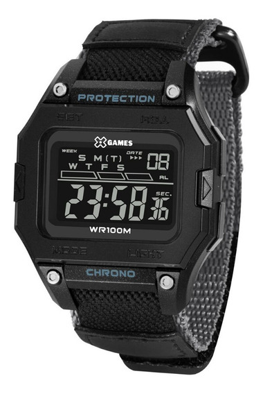 Relógio Masculino Digital Quadrado Preto Nylon X-games + Nf