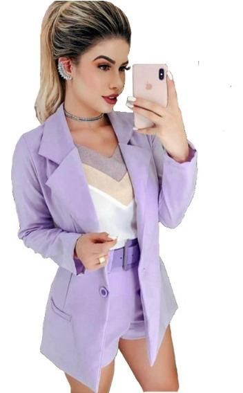 Conjunto Feminino Blazer + Short Cintura Alta Moda Instagram