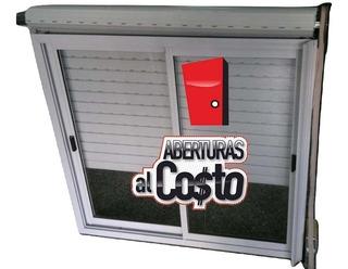 Ventana Con Vidrio Guía Y Persiana En 120x110 Alum Blanco!!