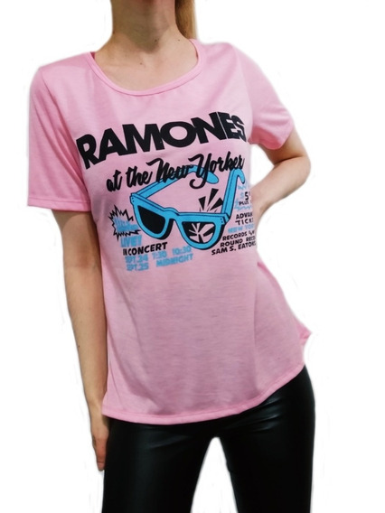 Remera Ramones De Mujer Con Estampa - Rosa Talle S/m