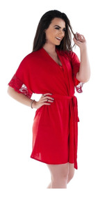 701fecd8411f1f Kit 3 Robe Hobby Roupão Feminino Com Renda Sexy Luxo