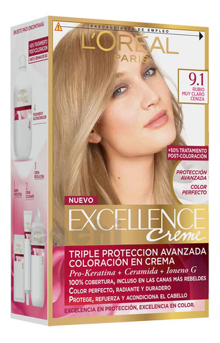 Tinta Loreal Excellence Creme Rubio Muy Claro Ceniza 9.1