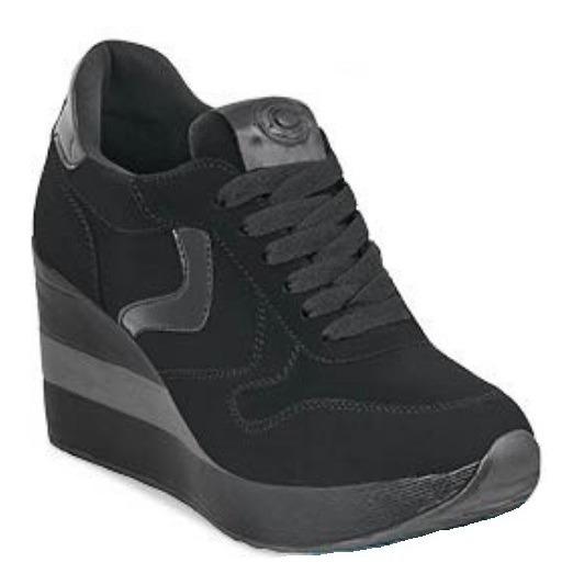 Zapato Tenis Sneakers Plataforma Moda Negro Comodo Gamuza