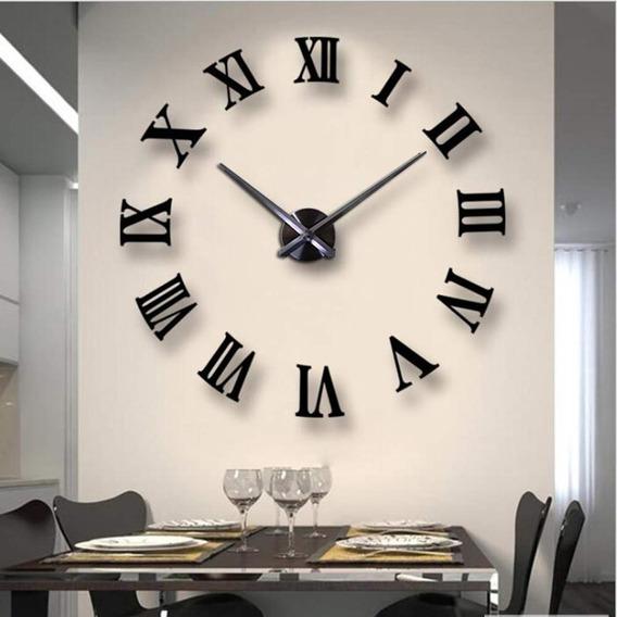 Reloj Gigante De Pared Decorativo 3d Número Romano, Negro