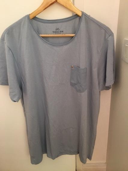 Camisa Malha Toulon Listrada Bolso Liso Tamanho Gg Azul