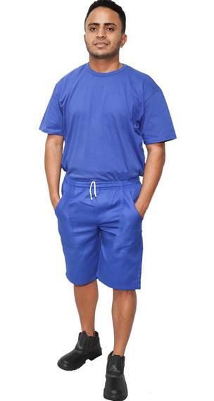 Kit 60 Bermudas Em Brim Azul Uniforme Profissional