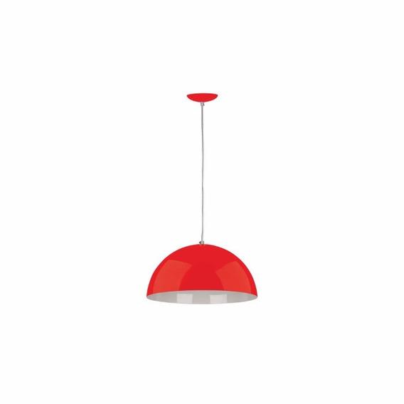 Pendente Meia Esfera Vermelho Lustre Alumínio Moderno 450mm