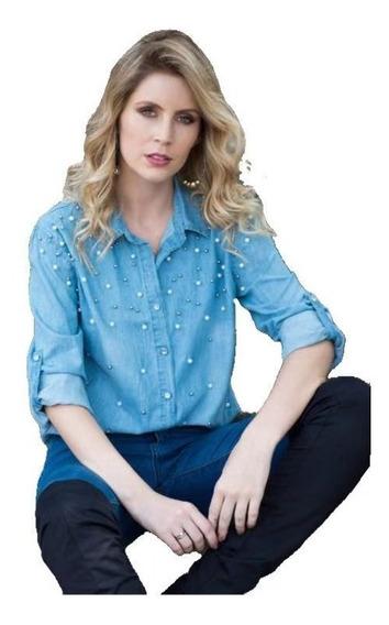Camisa Jeans Com Pedrinhas Feminina Lançamento Importado