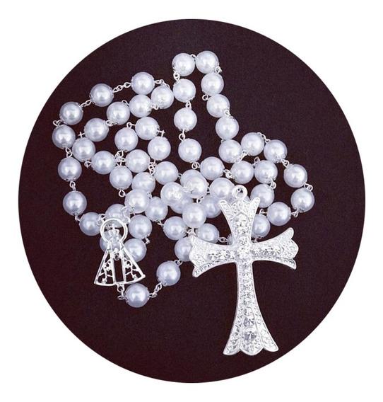 Terço De Noiva Pérola Branca Nossa Senhora Aparecida Vazada
