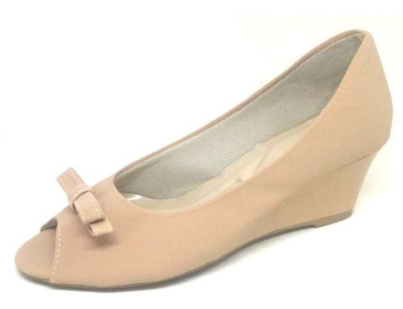 Confort Peep Toe Anabela Nude Gata & Sapato