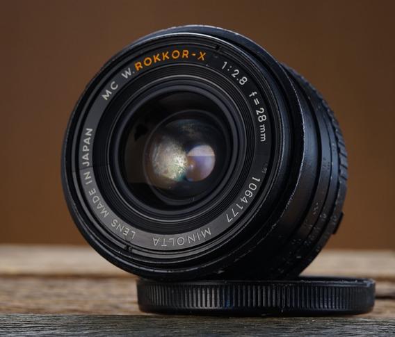 Lente Minolta Rokkor X 28mm 2.8 Grande Angular Uso De Peças