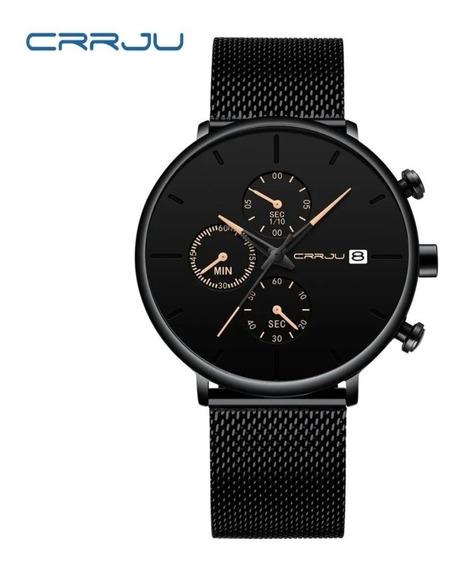 Relógio Crrju Luxo Cronógrafo Calendário Pronta Entrega