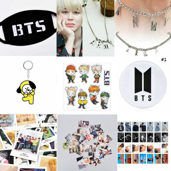 Máscara Bts Kpop + Colar Army + 20 Polaroids + 30 Photocards