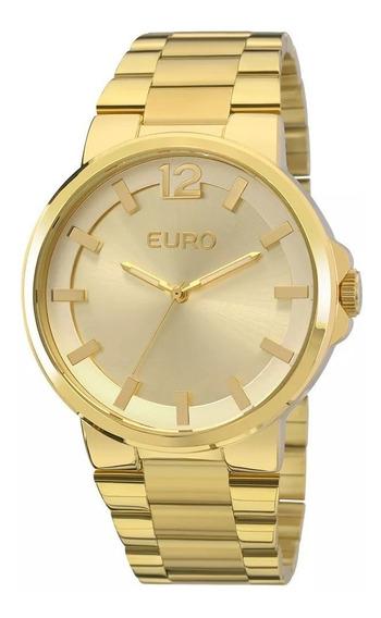 Relogio Euro Feminino Dourado Grande Original A Prova Dagua Com Garantia De Fabrica E Nota Fiscal Eu2035yee/4d