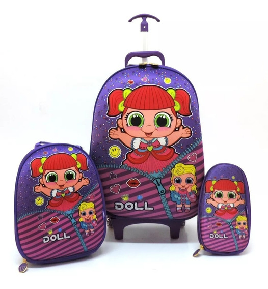 Kit Mochila Malinha Escolar Infantil Rígida G Doll Lol Roxa