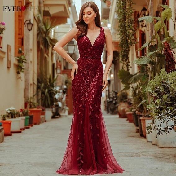 Vestido Longo Festa Sereia Borgonha Ever-pretty Lantejoulas