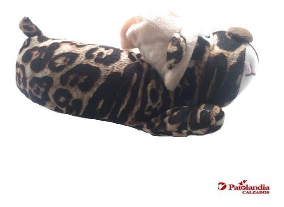 Pantuflas Animales Nene Nena Gummi Infantil Tigre Peluche Invierno N°28/34