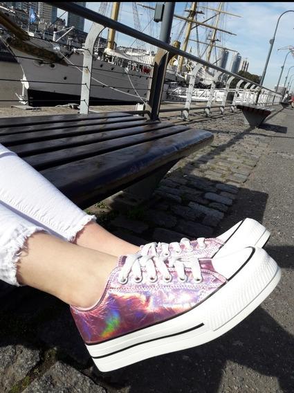 Zapatillas Mujer Plataforma Comoda Urbanas Star Lona 30