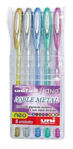 Caneta Gel Signo Uniball Metal Colorido Kit Com 5 Unidades