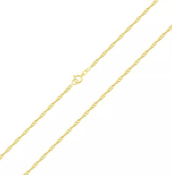 Corrente Cordão Colar De Ouro 18k Feminina Singapura 45 Cm