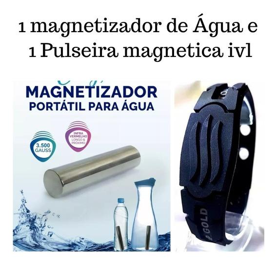 Kit 1 Pulseira Mag C/2 Pastilhas Ivl + 1 Magnetizador Agua